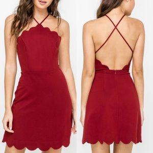 Lush maroon scalloped dress medium